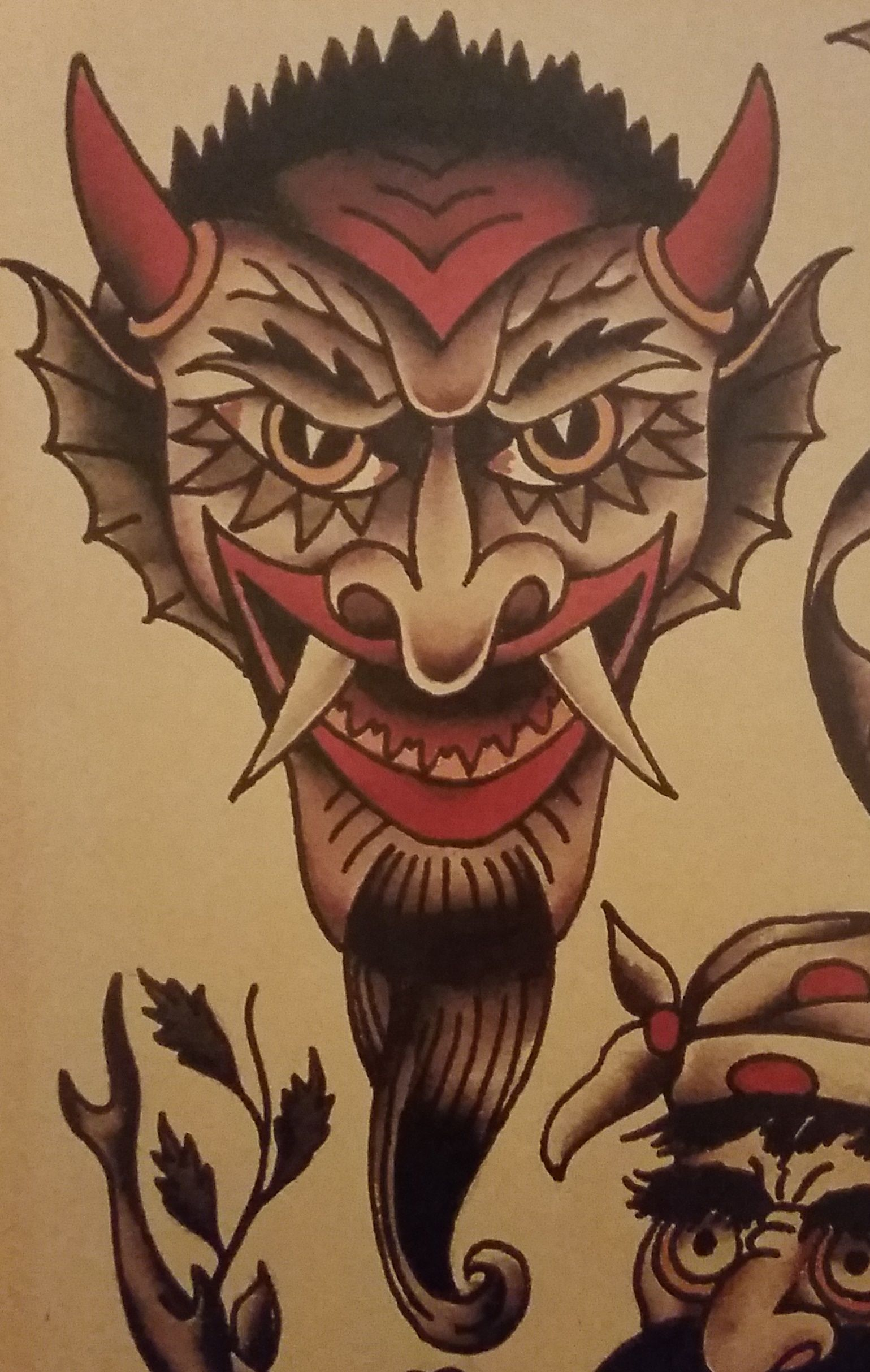 traditionalold school tattoo sailor jerry devil demon