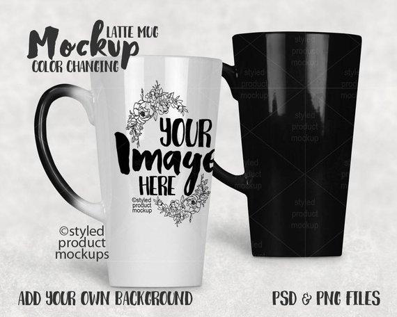 36d3fdc093c Color changing 17 ounce latte mug template mockup   Dye Sublimation ...