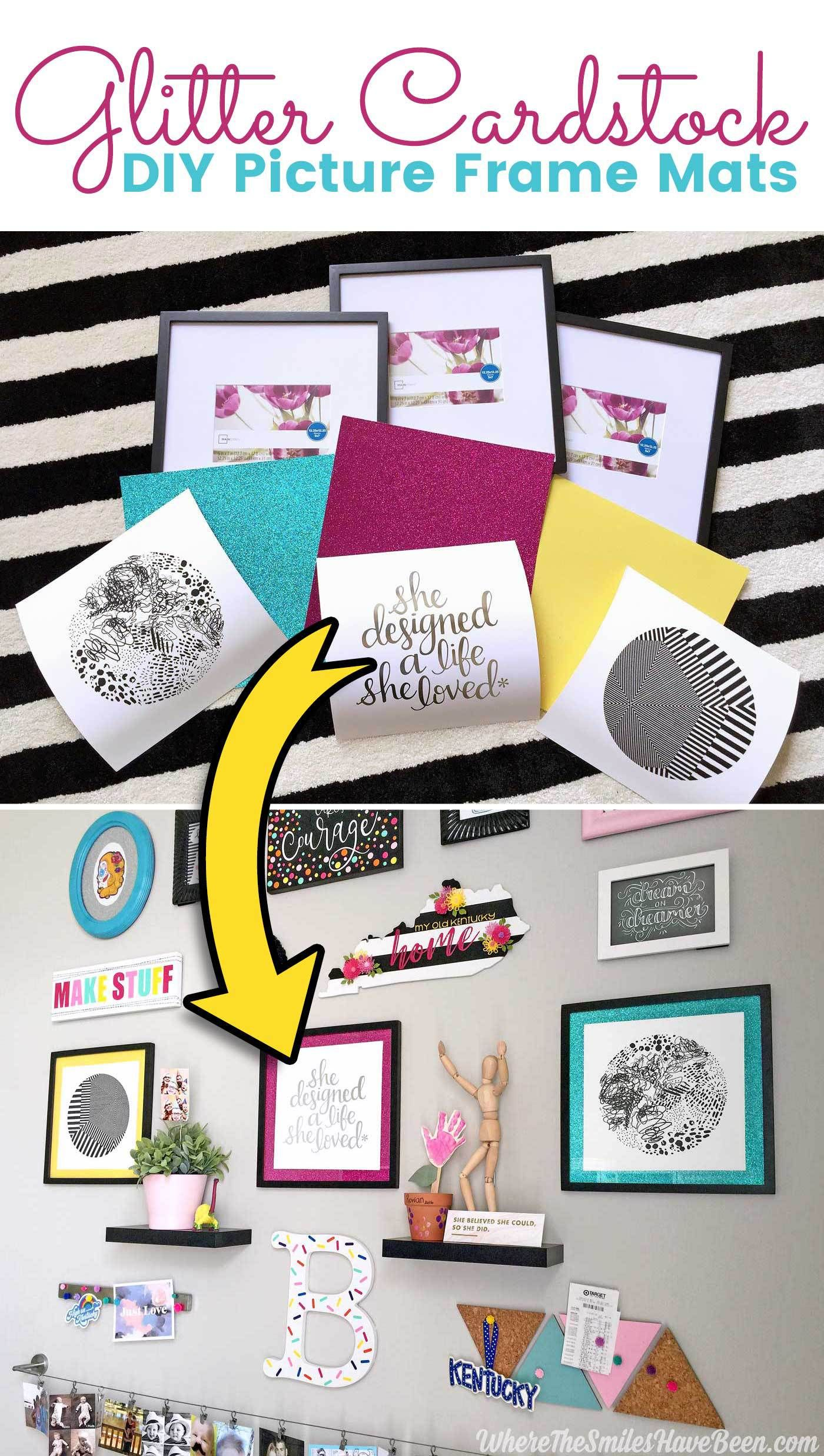 Easy Inexpensive Diy Picture Frame Mats From Glitter Cardstock Diy Kids Art Display Picture Frame Mat Diy Picture Frames