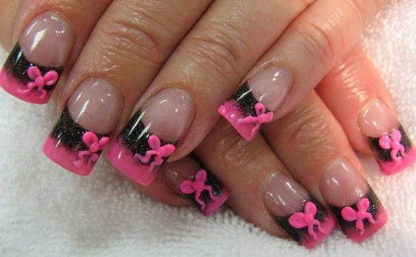 Types Nails Styles Bow Nail Designs Black Nail Designs Pink