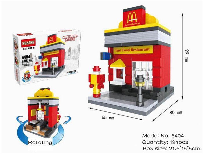DIY Mini Architecture Fire Station City Street Store Toy Building Blocks Bricks
