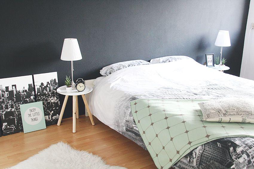 Slaapkamer Muur Inspiratie : Slaapkamer interieur zwarte muur interieur inspiratie