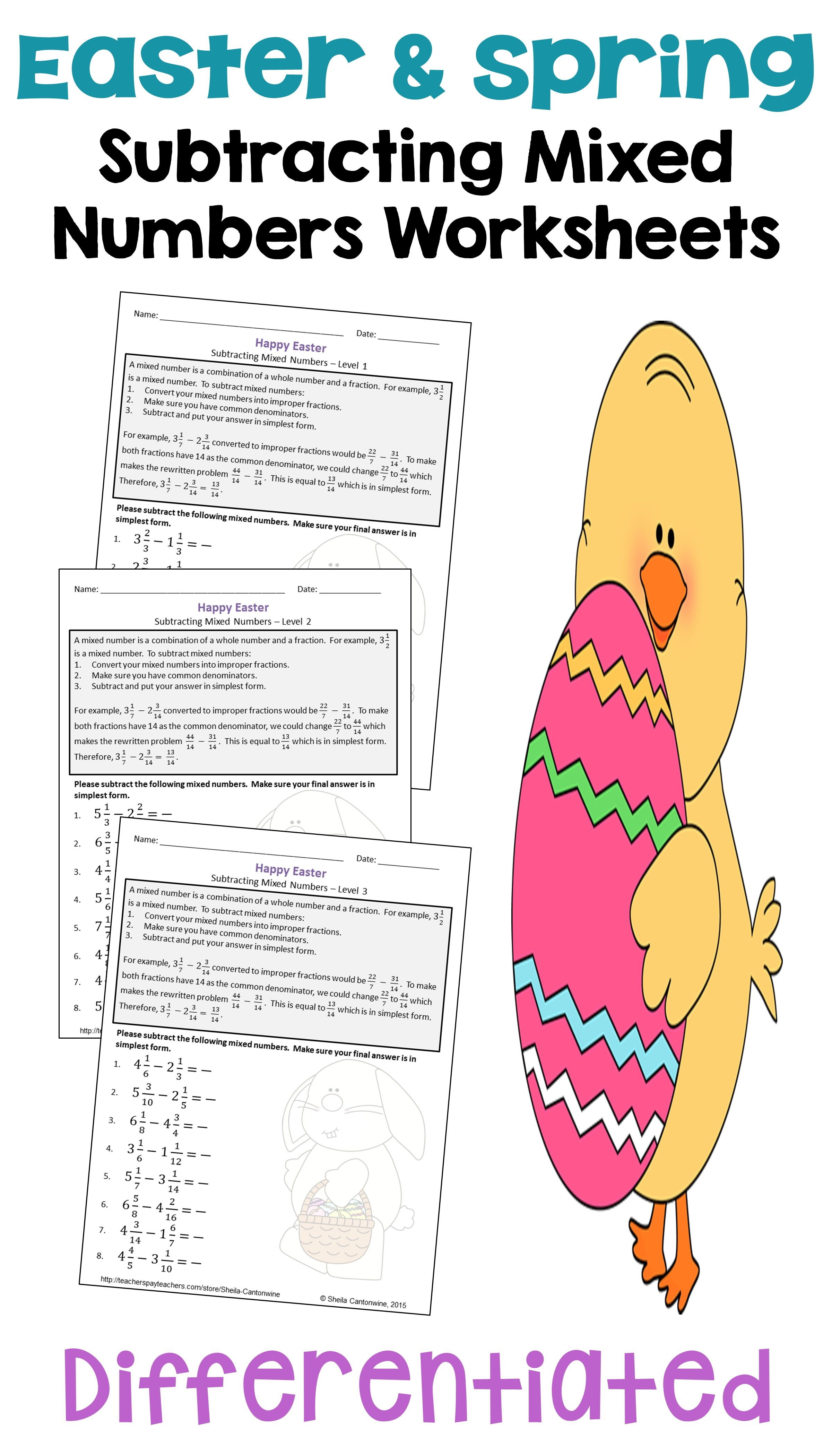 Easter Math Subtracting Mixed Numbers Worksheets