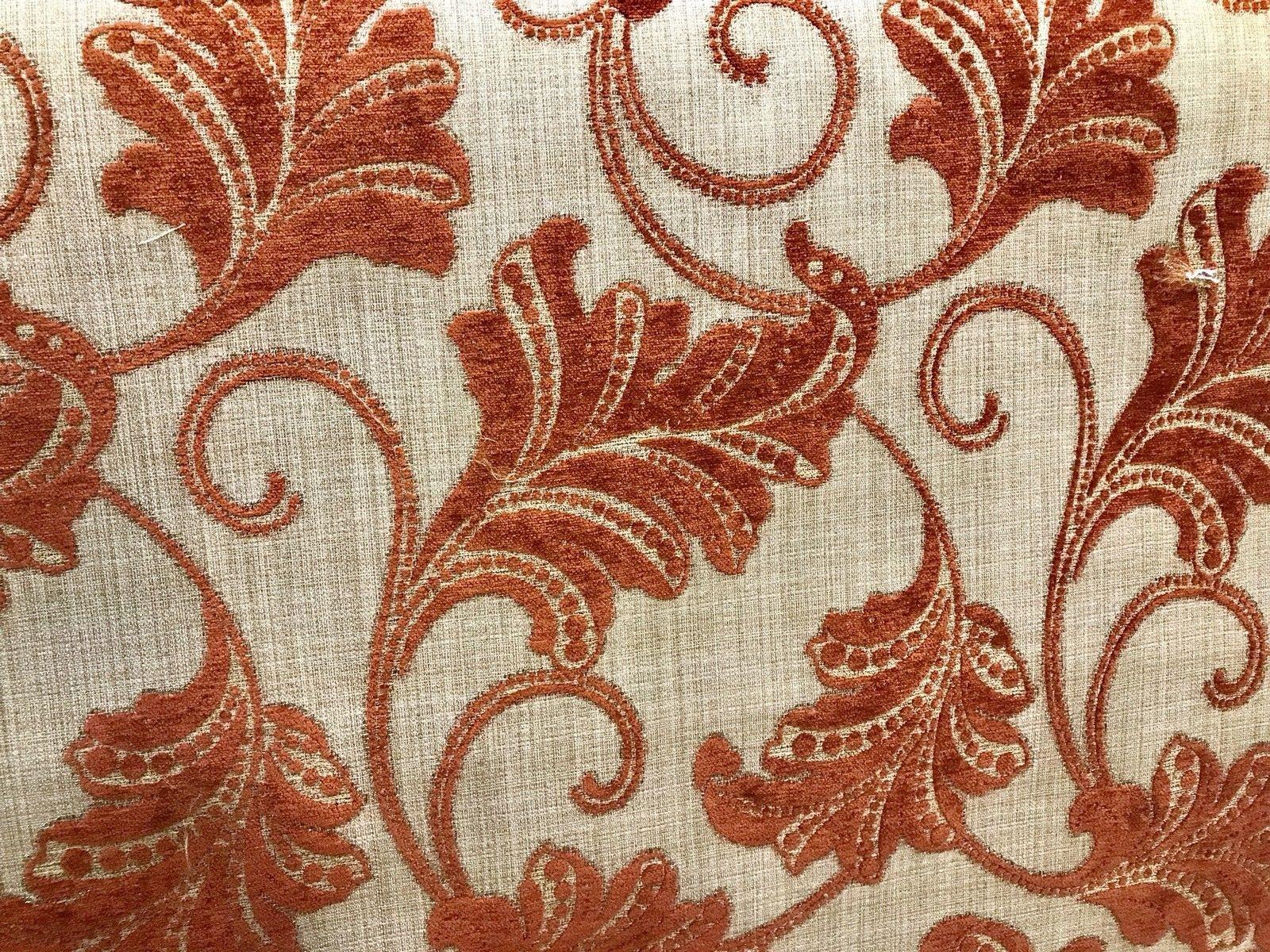 NEW Designer Burnout Velvet Floral Upholstery Fabric Burnt Orange Rust Red