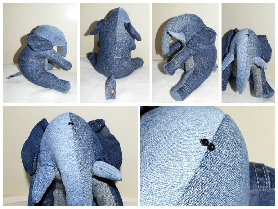 denim elephant  made using a  funky friends factory elephant pattern.