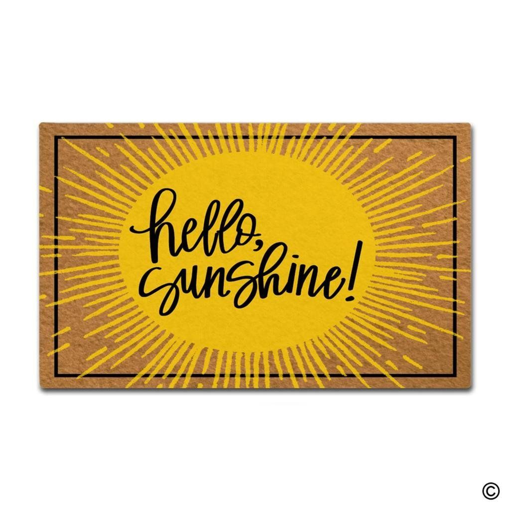 Msmr Doormat Entrance Floor Mat Hello Sunshine Funny Door Mat Indoor Outdoor Decorative Doormat Non Woven Fabric Top 23 6 X15 Door Mat Floor Mats Novelty Sign