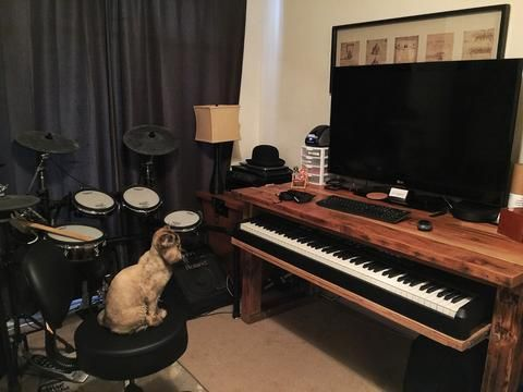 We Finally Finished Our Reclaimed Wood Midi Controller Desk For Derivative Studios This Is A Recording Studio 88 Key Keyboard With