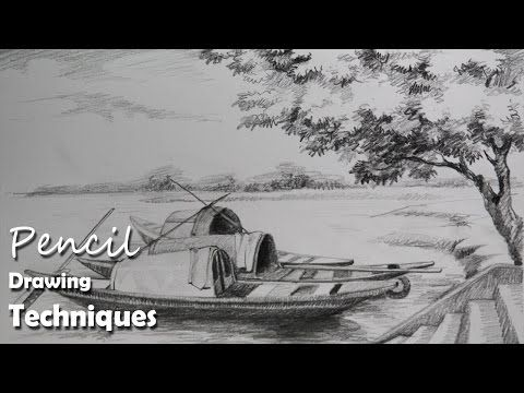 Pencil drawing tutorial how to draw boats a riverside landscape youtube