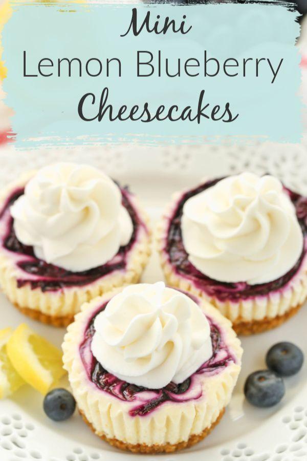 Mini Lemon Blueberry Cheesecakes