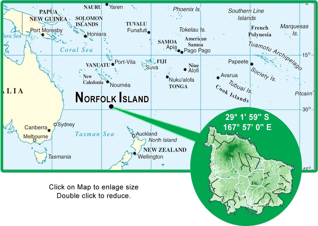 Norfolk Island Location Map ISLANDS Miles of Isles Pinterest
