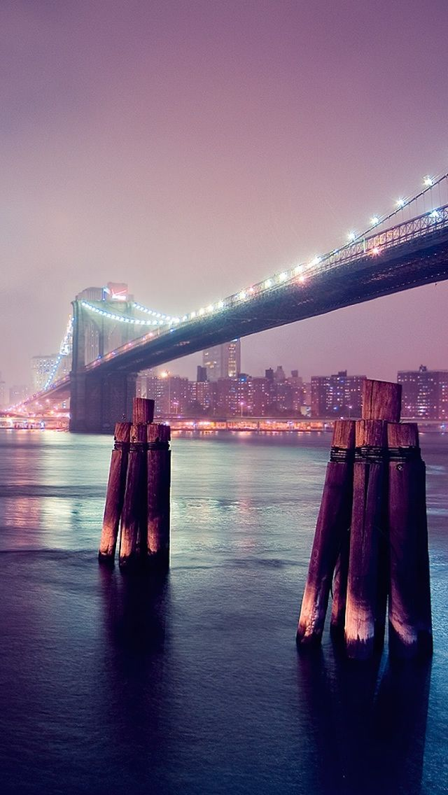Night Lights River Bridge Iphone 5s Wallpaper Download Iphone Wallpapers Ipad Wallpapers One Stop Download