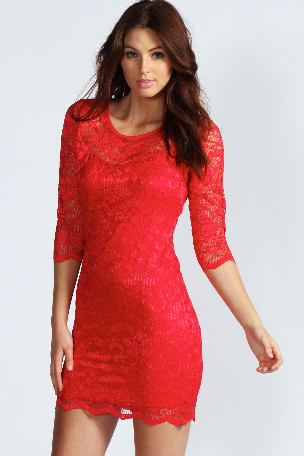 Red lace long sleeve dresses