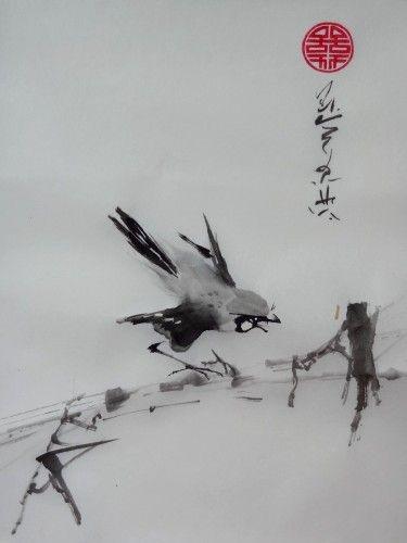 Aquarelle Sumi E Peinture Chinoise Oiseaux Abby Encre Peintures