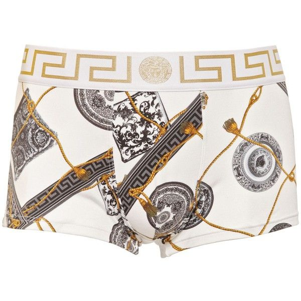 VERSACE UNDERWEAR Printed Viscose Jersey Boxer Briefs ($111) ❤ liked on Polyvore featuring men's fashion, men's clothing, men's underwear, shorts and under wear
