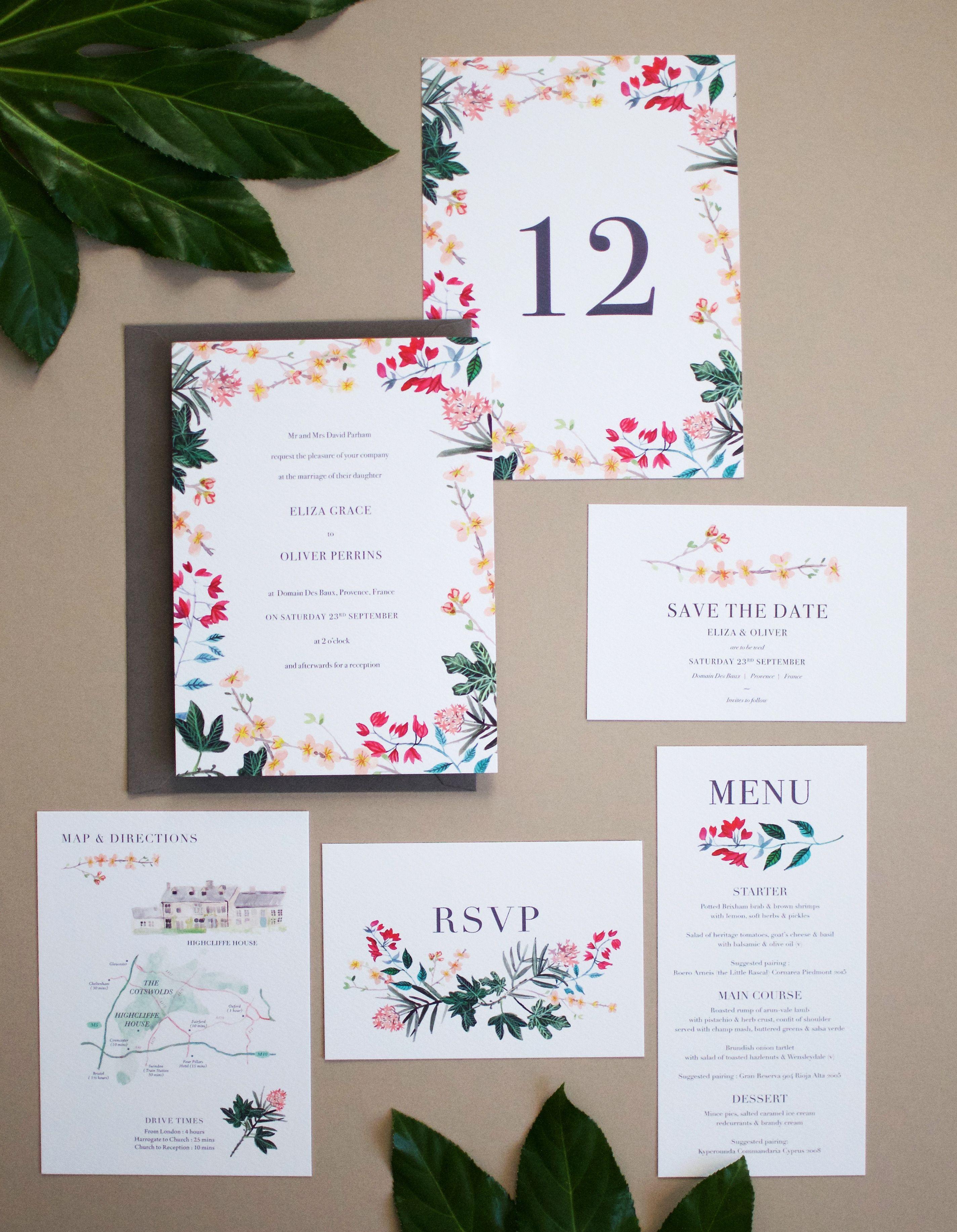 Meditterranean Botanical Wedding Stationery | By Hollyhock Lane ...