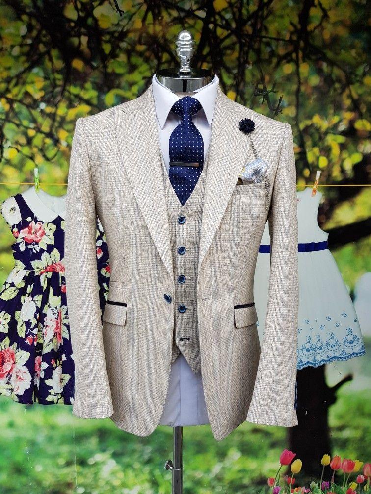 Men's Three Piece Light beige suit for summer weddings