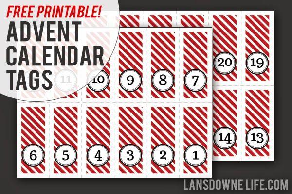 Last Minute Diy Advent Calendar Free Printable Number Tags Free