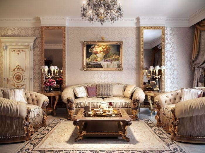 Elegant Barock Wohnzimmer Gestaltung  Weiche Sofas Spiegel Goldene Ornamente Glänzende Designer Tapeten
