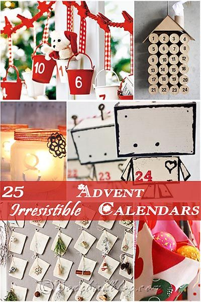 25 Advent calendar ideas that are fun, easy, beautiful, and inspiring. Get in the Christmas mood now. Collection gathered by http://www.songbirdblog.com