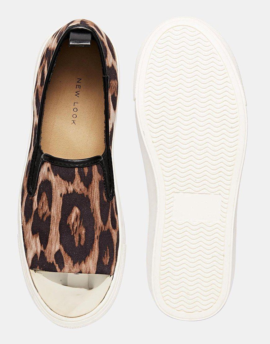 Image 3 of New Look Metalhead Toe Cap Animal Print Slip On Trainers