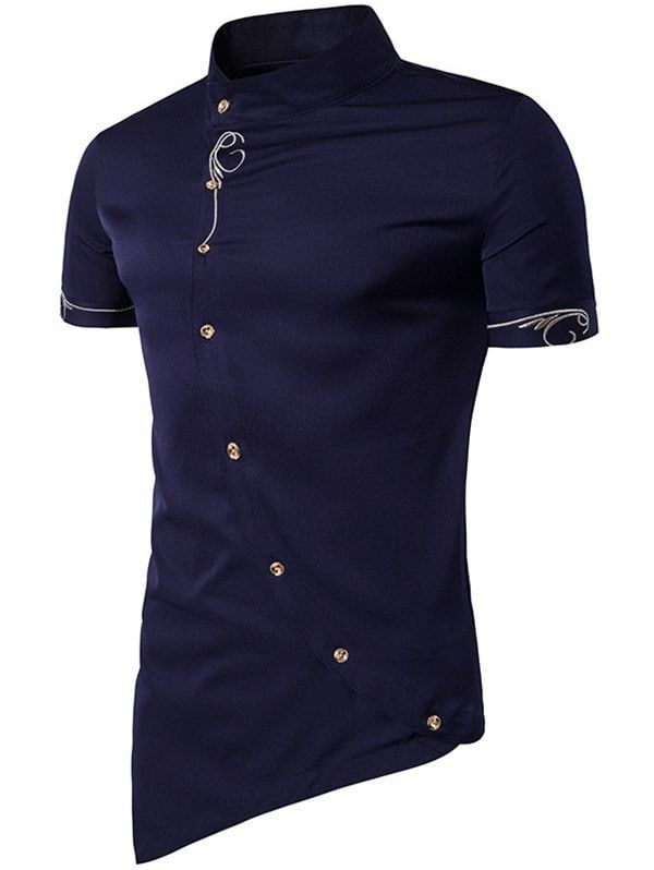 de2d2f486 Men Fashionable Sloping Figuring Style Vertical Collar Shirt | my ...