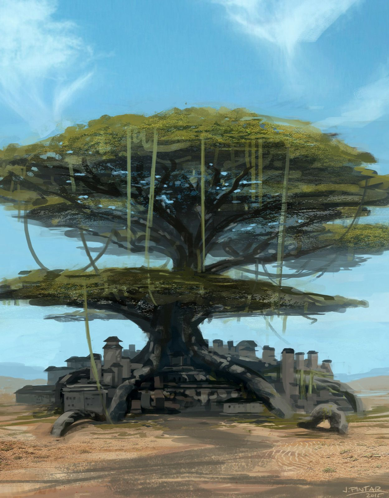 Tree Town, Jon Pintar on ArtStation at https://www.artstation.com/artwork/kZOx6