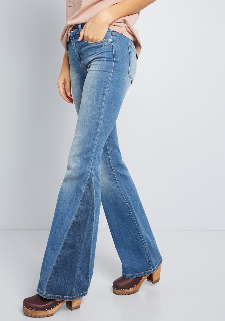 4f9cd595627 Equally Unique Flared Jeans in Distressed Mid Wash