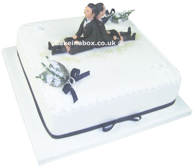 Wedding Civil Partnership Cake - Emperial Square with Figures