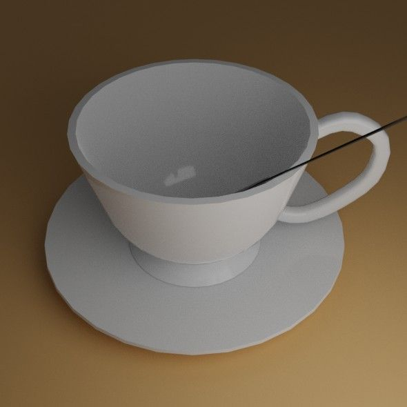 Low-Poly White Cup. Fully customizable low-poly 3D model. #3D #3DModel #3DDesign #Lowpoly #3dcomic #VR #AR #cup #lop-poly #plate #spoon