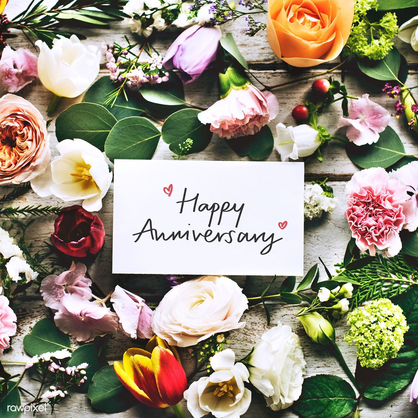 Download Premium Image Of Happy Anniversary Card And Flowers 426819 Happy Anniversary Cards Happy Valentines Day Card Happy Marriage Anniversary