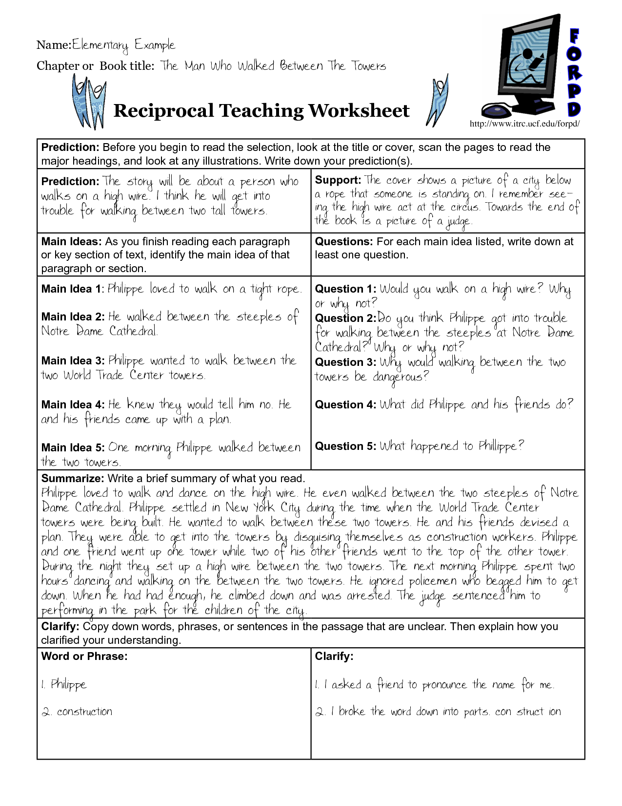 worksheet Reciprocal Teaching Worksheet reciprocal teaching graphic organizer google search 4th grade search