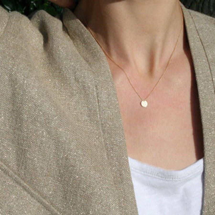 Double sided solid gold disc initial necklace initial necklaces double sided solid gold disc initial necklace aloadofball Image collections