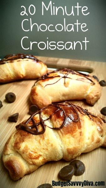 1 Package of Crescent Rolls  1 Cup of Chocolate Chips ( Milk Chocolate or Dark Chocolate)