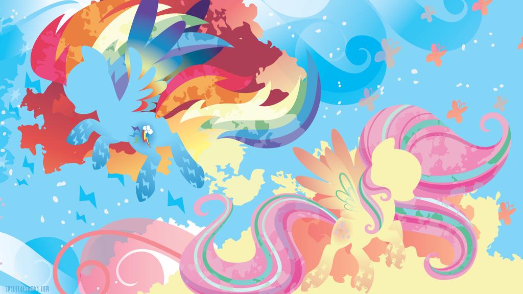 Rainbow Power Rainbow Dash And Fluttershy By Spacekitty
