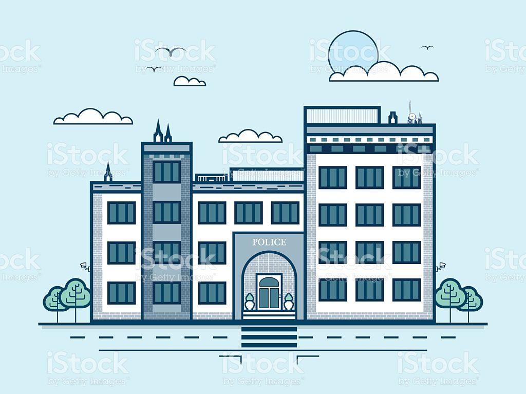 Городской улицы с полиции, современная архитектура В строке стиль Сток Вектор Стоковая фотография