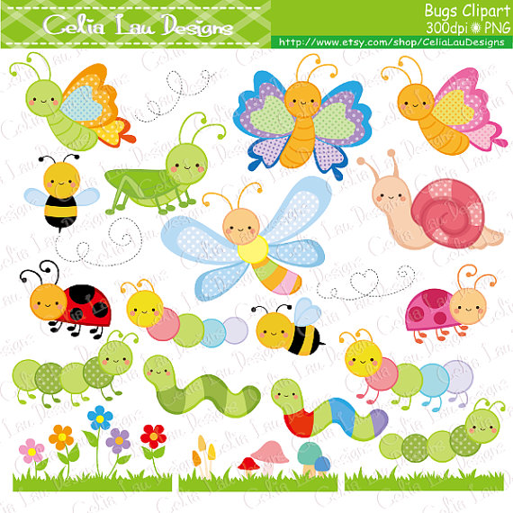bugs clipart cute bugs clipart insect clip art bee butterfly rh pinterest co uk cute lightning bug clipart Cute Flower Clip Art