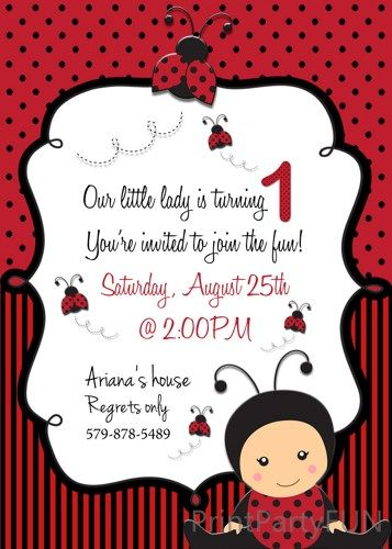 Ladybug First Birthday Party Invitation Printable File