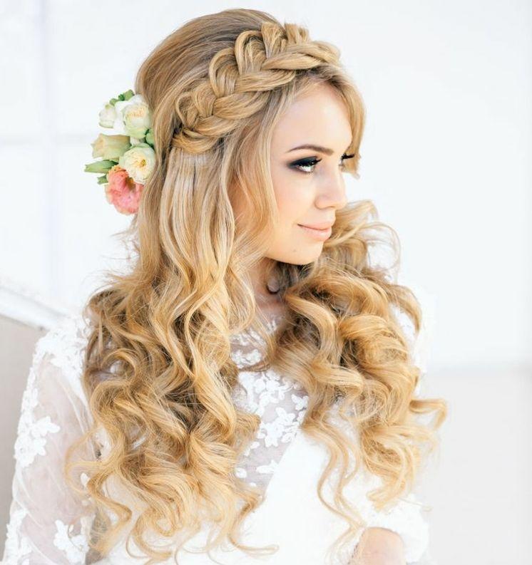 Wiesn Frisuren Lange Haare Halboffen Flechtfrisuren Blumen Locken Blond Wiesn Frisur Tracht Frisur Oktoberfest Frisur