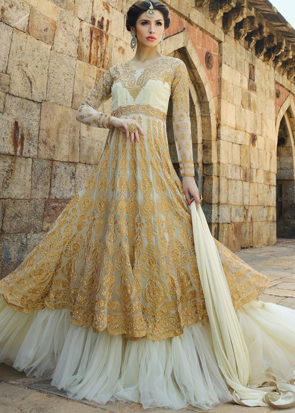Flared Double Layered Net Suit In Beige And Off White