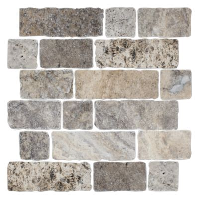 Claros Silver Broken Brick 12 X 12 In Travertine Mosaics Tile Wall And Floor Tiles Tile Floor Travertine Floor Tile