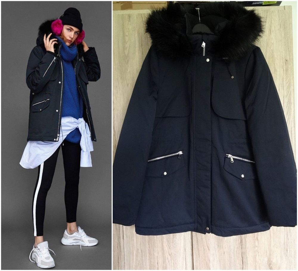 Zara Navy Blue Hooded Parka Coat With Detachable Faux Fur Trim Size S Fashion Clothing Shoes Accessories Womensclothing Coat Hooded Parka Parka Coat Coat