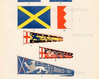 Vintage grafiek van Banners en normen vlaggen van St. Edmund St. Edward St Alban de Montfort Percy Stafford en Douglas