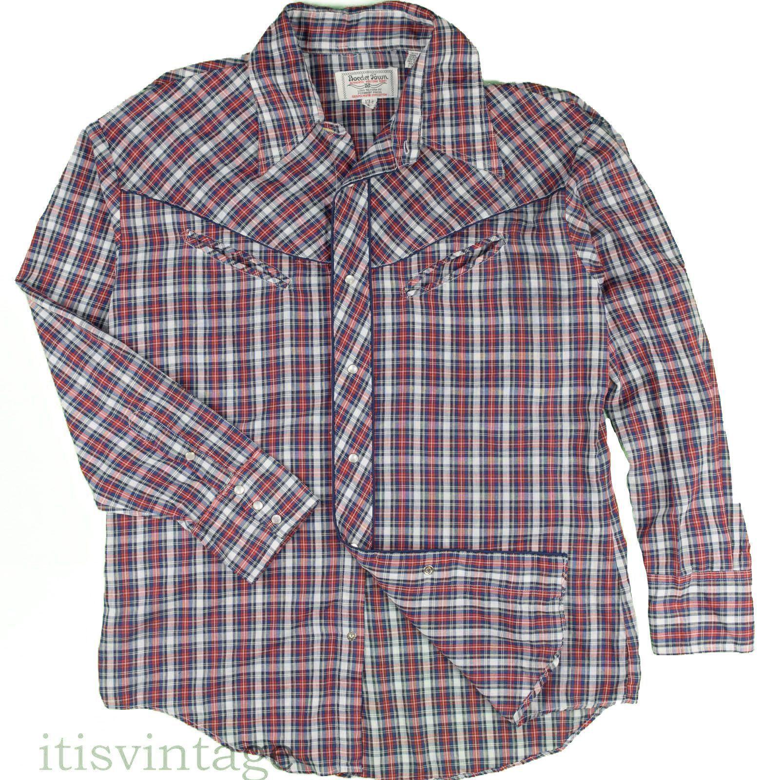 8830b13d Border Town Shirt Vintage Western Wear Pearl Snap Smiley Pockets Plaid 17 1/ 2