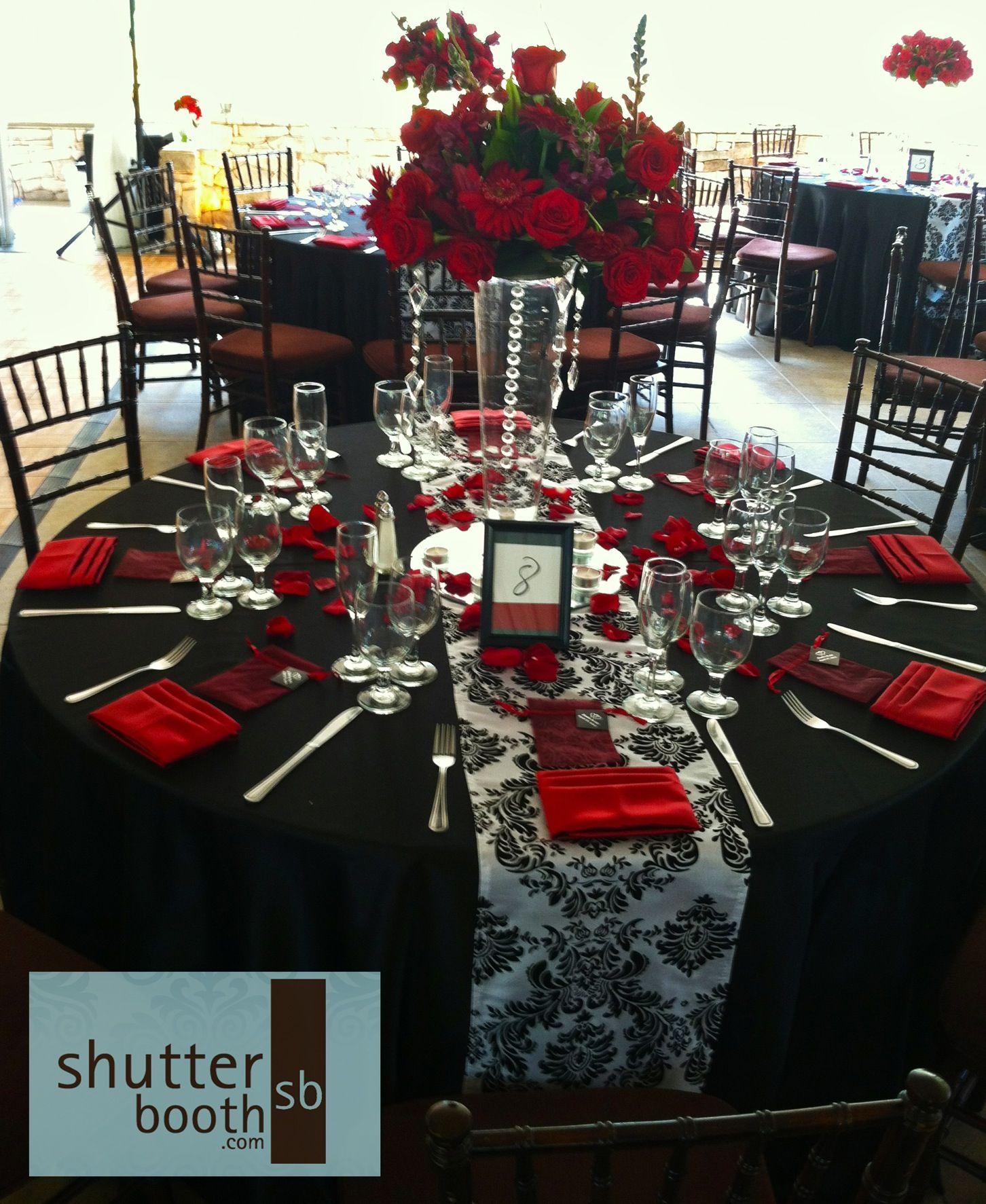 Blog San Diego Red Wedding Black Red Wedding Wedding Table