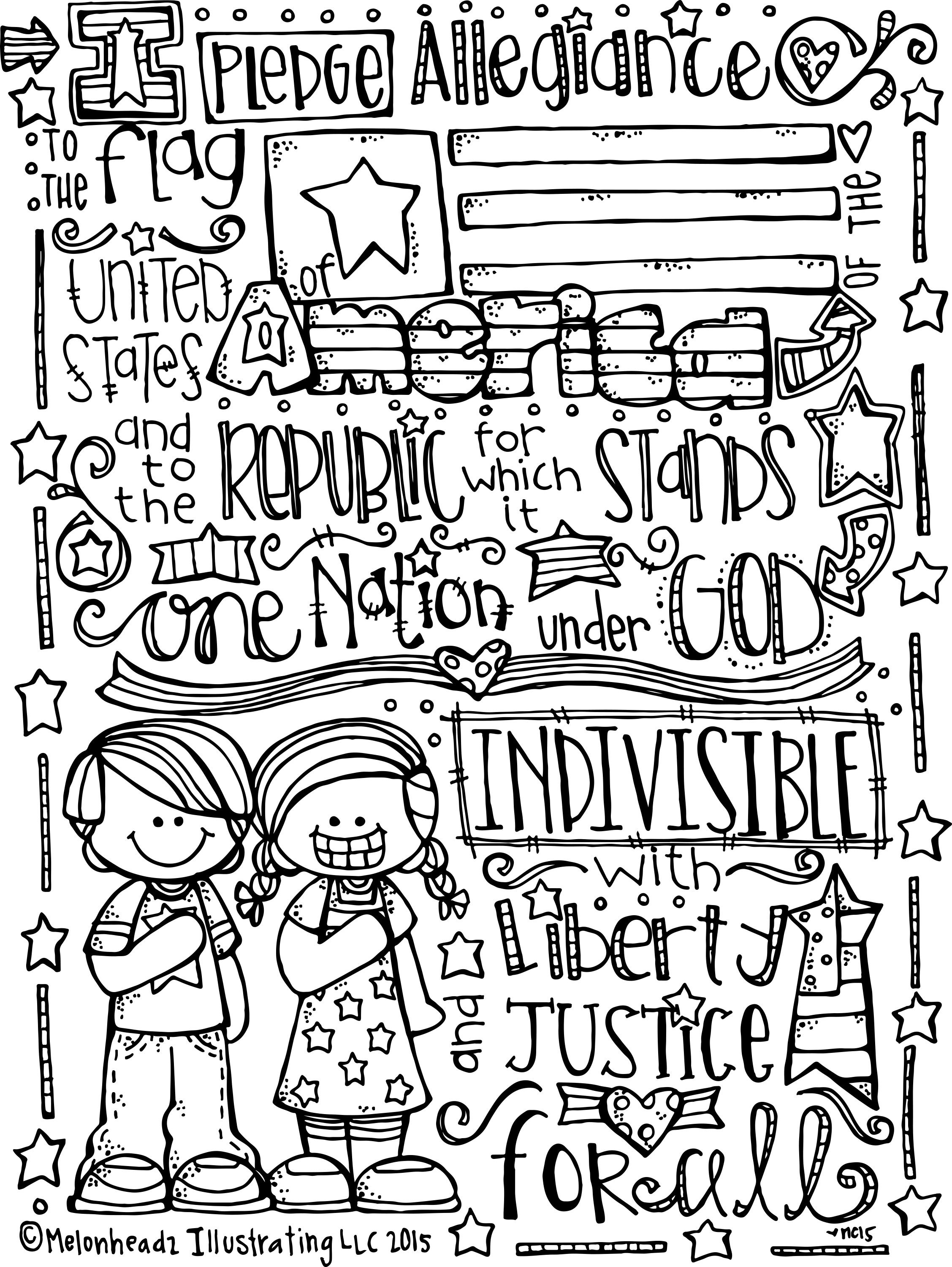 Pledge of allegiance coloring page freebie by melonheadz in