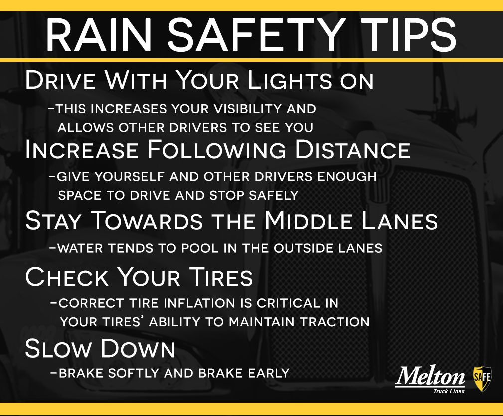 Rain can present numerous problems for truck drivers. Keep