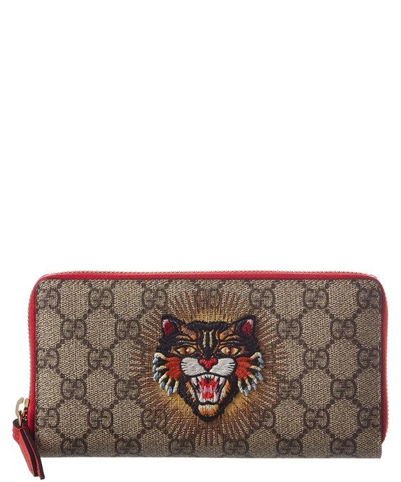 d03982c18fb3 Gucci Womens Small Angry Cat Zip Around Wallet, Brown | Accessories ...