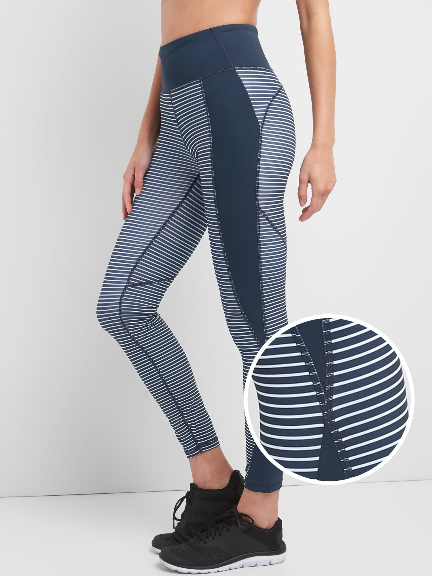 0dfb956f93 Gap Fit, GFast Mid Rise Leggings in Sculpt Compression, in Stripe Navy, $80