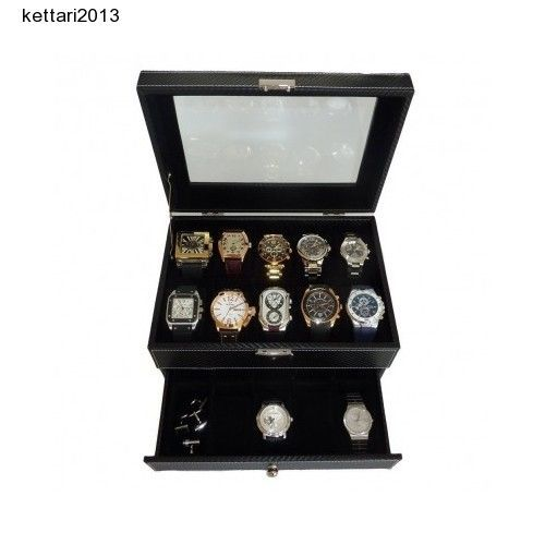 Black Watch Collection Display Box Jewelry Case Organizer Holder Men