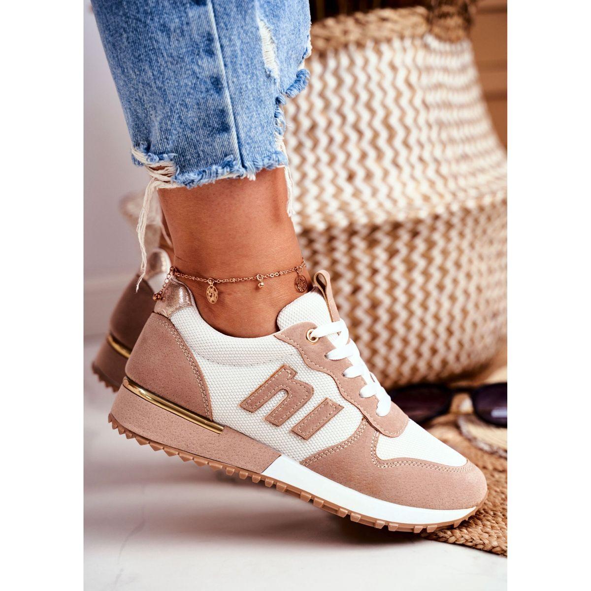 Sportowe Damskie Buty Brazowe Zlote Elementy Maddie Shoes Asics Sneaker Sneakers